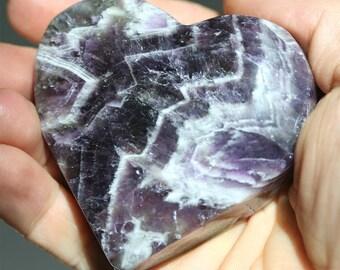 purple amethyst heart, large meditation stone, chevron amethyst mineral specimen, energy healing stone, natural gemstone heart, love gift