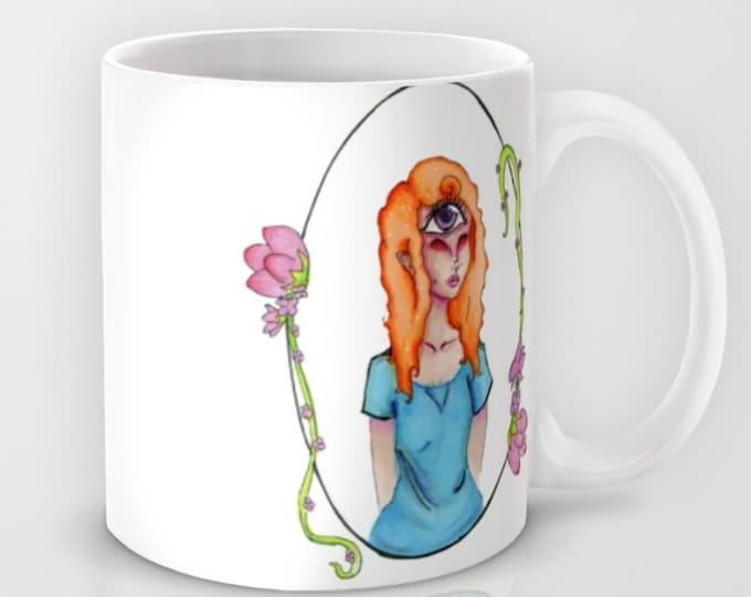 Fantasy Art Coffee Mug - Eye Can See Right Through You - 11 oz Mug - 15 oz Mug - Original Art - Ceramic Coffee Cup - Made to Order
