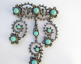 Vintage Southwestern Faux Silver and Glass Turquoise Beaded Filigree and Flower Dangling Brooch Pin - 2304