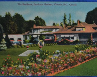 Butcharts Garden Residence Victoria BC British Columbia Canada Linen Postcard