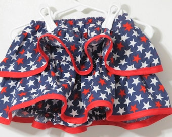 Fourth of July Ruffle Skirt - Patriotic Diaper Cover - Ruffle Skirt  - Baby Bloomers - Red White And Blue Diaper Cover - Baby Clothes