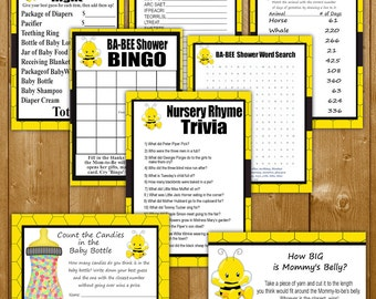 Bee Baby Shower Games - Pack of 8 Games Printable Baby Shower Games Bee Theme - Instant Download