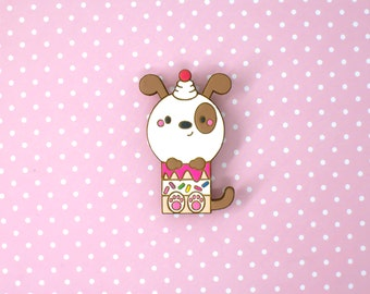 puppy cake - hand painted wooden brooch