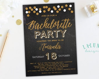 Bachelorette Party Invitation, Chalkboard Bachelorette Invitation, Hens Party Invitation, Gold Confetti Invitation, Glitter Bachelorette