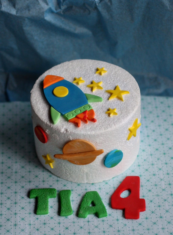 Fondant Rocket Stars And Planet Cake Decorations For A Space