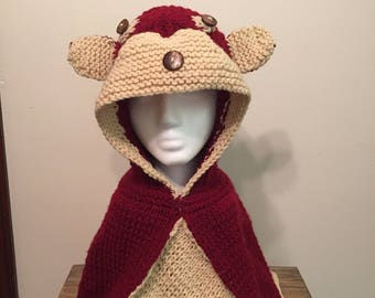 Girl's hooded fox poncho