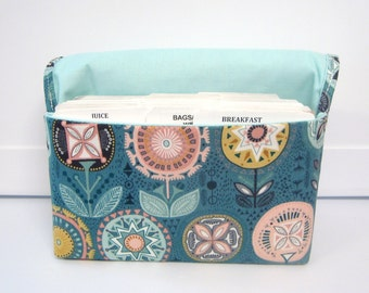 Coupon Organizer Cash Budget Organizer Holder- Attaches to your Shopping Cart / Turquoise  Floral Medallion