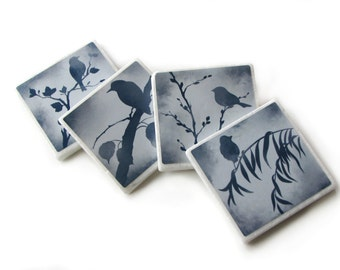 Blue Bird Decorative Tile Coasters Set of 4, Nature Home Decor