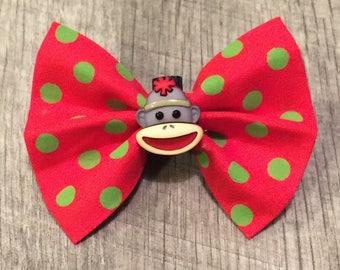 Holiday Sock Monkey Dog Bow/Bow Tie