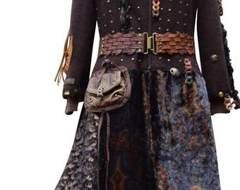 Military style sweater COAT, boho steampunk clothing, OOAK festival Coat, tattered long fantasy, hippie patchwork Plus size. Ready to ship