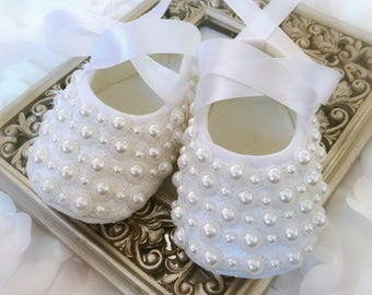 Baby Girl White Christening Baptism Shoes with Pearls