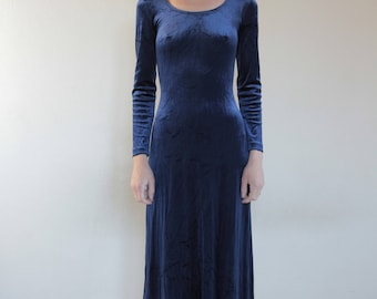 90's Benetton royal blue velvet maxi stretch dress / club kid chic / scoop neck and back
