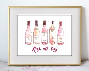 Rosé All Day, Print from Original Watercolor Painting, Home Decor, Kitchen art, Wine art