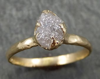 Raw Diamond Engagement Ring Rough Uncut Diamond Solitaire Recycled 14k gold Conflict Free Diamond Wedding Promise 0634