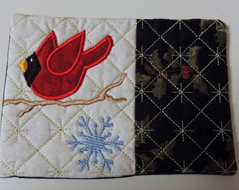 Cardinal Applique and Embroidered Mug Rug Coffee Mat Candle Mat Drink Coaster Gift Decorative Snack Table Desk Mat Black White Red