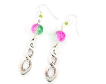 Earrings in silver, pink and green marbled glass beads and charm