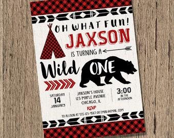 lumberjack birthday invitation, wild one birthday, BOY first birthday, teepee, bear invitation, buffalo plaid woodland printable invitation