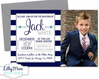 LDS Baptism Invitation, LDS Boy Baptism Invitation, Navy and Gray, Christening Invitation, Digital Baptism Invitation, Navy Stripe