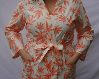 Orange and Cream Robe, Dressing Gown, Leaf pattern, Robe, Robe with Pockets, Flirty Flamingo, FlirtyFlamingoStore