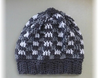 Slouchy Hat Roomy Unisex Adult Teen Checkered Squares Shades of Gray