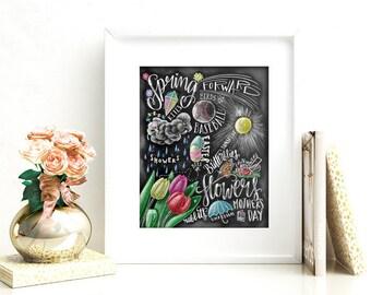 Spring Decor, Spring Sign, Spring Art, Chalkboard Art, Chalk Art, Typography, Spring Subway Art, Spring, Tulips, Word Collage