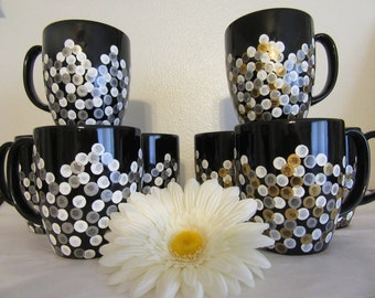 Cups Mugs Coffee Hand Painted Unique One of a Kind Black With White, Silver, Gold HAPPY DOTS Gift Idea Kitchen Decor Drinkware Set of 4