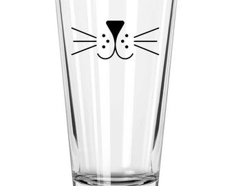 Cat Whiskers Beer Glass, Cat Pint Glass, Cat Lover Gift, Kitten Beer Glass, Cat Beer Glass, Cat Lover Gift, Cat Whiskers, Beer Lover Gift