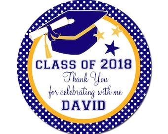 Graduation Labels Class of 2018 / Custom Personalized Stickers / Party Favors / Envelope Seals / College University High School Labels