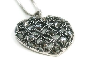 Rhinestone Heart Pendant Necklace - Art Deco Filigree Heart Necklace - Mothers Day - Valentines Day - Minimalist - Gift for Her - Valentine