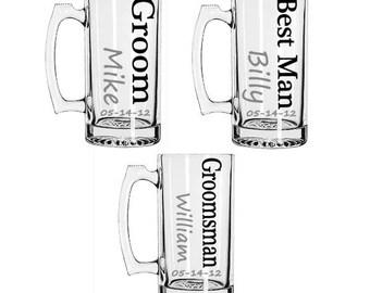 Groomsmen Gift, Personalized Groomsmen Beer Mugs, Custom Groomsmen Beer Mugs, Unique Groomsmen Mugs, Beer Mug Glasses