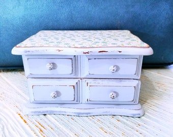 Light Blue Shabby Chic Jewelry Box, Upcycled Small Jewelry Chest
