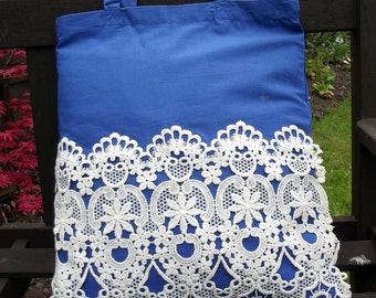 Vintage Lace covered Tote Bag - useful reusable shopping bag - Eliza - royal blue and white
