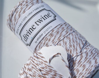 Bakers Twine - Divine Twine - 100% Cotton - One Color - Your Choice of Color - Your Choice of Length - Brown Sugar Shown