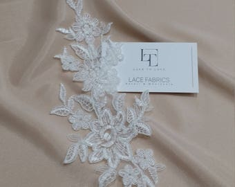 Ivory Lace applique, Ivory lace, French Chantilly lace applique, 3D lace, bridal applique, Applique M0076