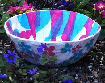 Flowered Paper Mache Bowl