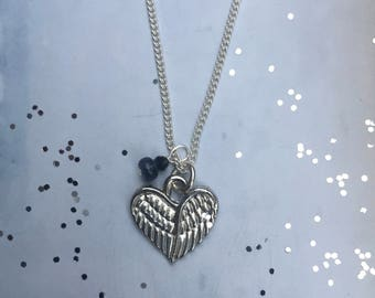 I Am With You, Heart Wing Necklace w/Sapphire