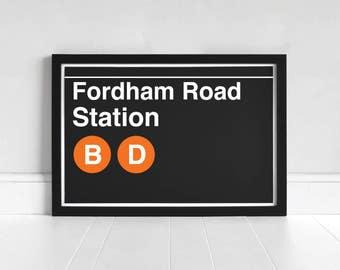 Fordham Road Station - New York Subway Sign - Art Print