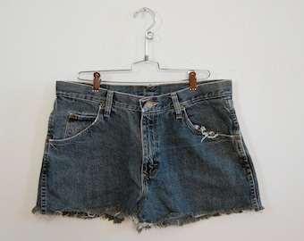 "Wrangler Denim Cutoffs - Vtg Style Denim Cutoffs - Blue Jean Cut Offs - Size 32"" - Handmade Cutoff Jeans - Summer Fashion - Denim Shorts"