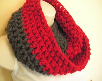 Scarlet and Gray OSU Crochet Cowl Infinity Circle Scarf Neckwarmer