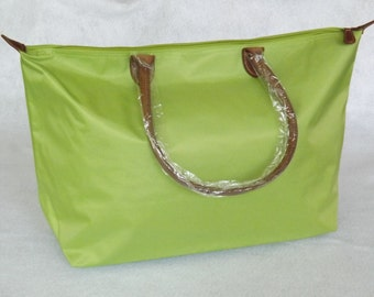 Monogrammed Nylon Tote, Large Shoulder Bag, Leather Strap Overnight Tote, Lime Green Shoulder Tote, Personalized