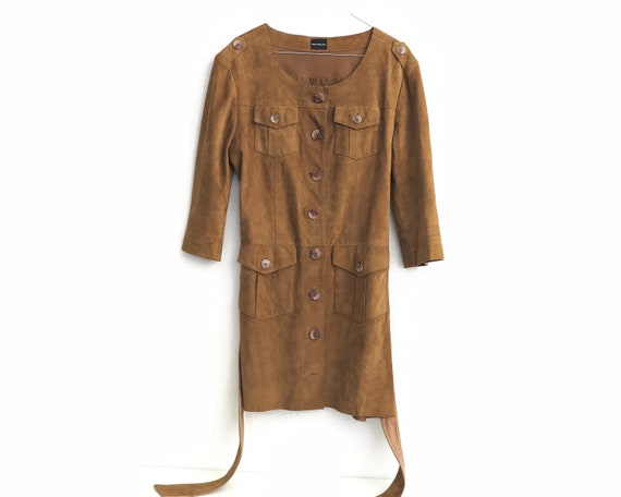 Vintage tan suede leather coat, goatskin, lots of details, stitching, pockets, epaulets, belt, small size, made in India