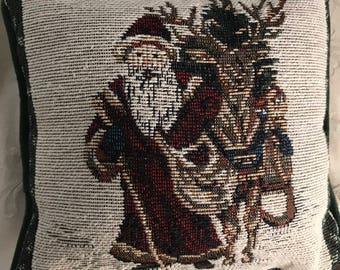 Vintage Tapestry Look Santa Pillow