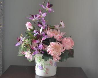 PINK AND PURPLE Floral Ceramic Flower Arrangement Feminine or Little Girls Room Flowers