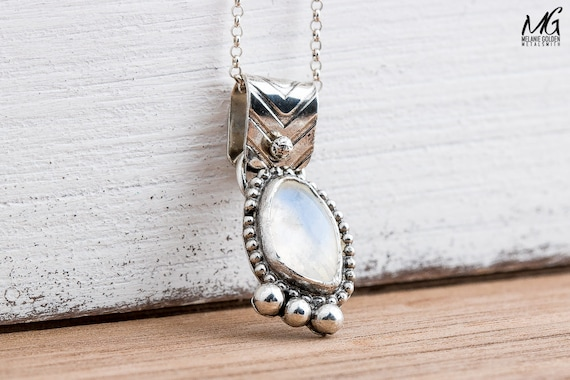 Rainbow Moonstone Gemstone Necklace in Sterling Silver with Beaded Border