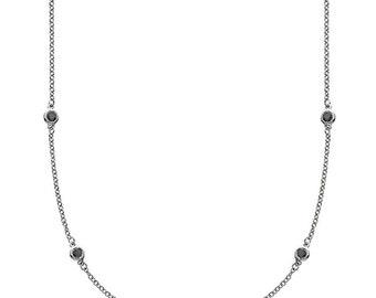 Endless White Gold & Black Diamond Necklace