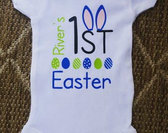 Baby Boys 1st Easter | Easter Shirt Personalized | Personalized Baby Boy Easter Shirt, Personalized Easter Outfit for Boys | My First Easter