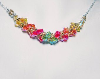 "Queen Titania Swarovski Crystal Necklace Beadweaving Sterling Silver -  ""Lady of Light and Life"""