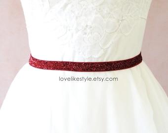 Skinny Wine Gltter Elastic Lace Belt, Bridal Wine Belt , Bridesmaid Wine Belt,  Sash Belt, Burgundy Belt