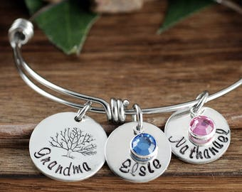 Silver Family Tree Bracelet, Personalized Grandma Bracelet, Grandmother bracelet, GIft for Mom, Tree of Life Bracelet, Gift for Grandma