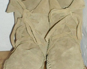 """EarthgardenHandmade lace up Moccasins ankle elf boots tan suede 7"""" high renfaire larp costume wedding burningman Hulahoop festival circus"""